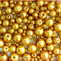 200 Assorted Sizes 4mm 6mm 8mm 10mm Glass Pearl Beads Bright Gold